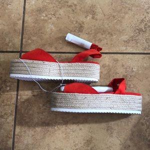 Wild Diva Lounge Red Suede Platform Sandals